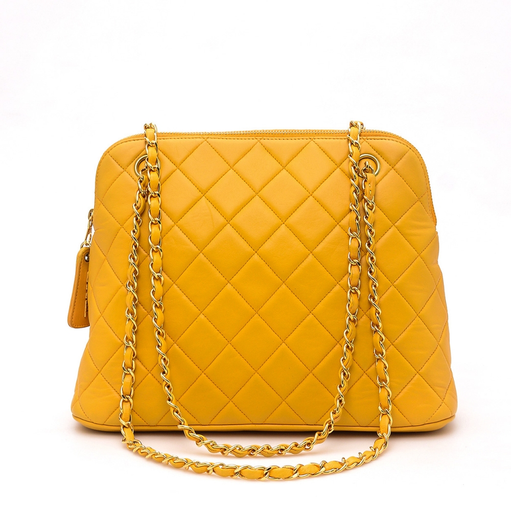 Chanel - Yellow Vintage Lambskin Shoulder Bag