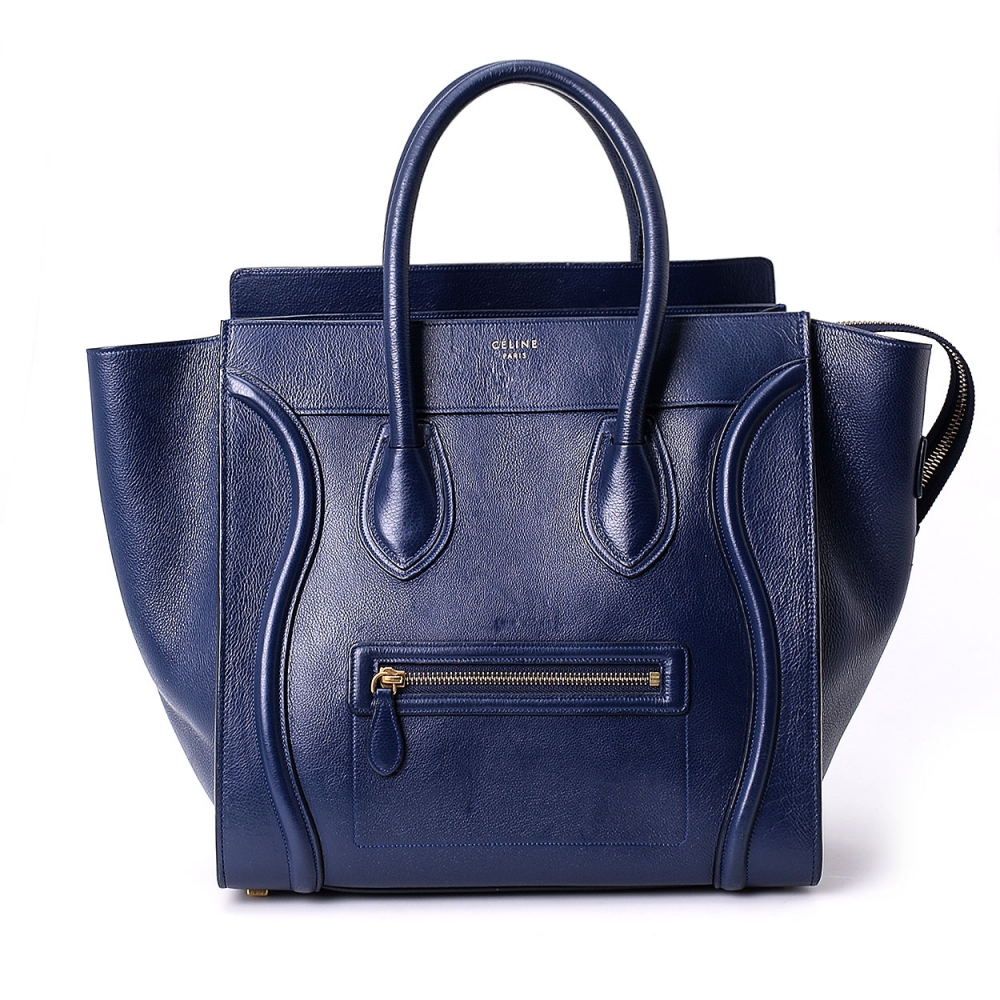CELINE - NAVY BLUE LEATHER MEDIUM LUGGAGE TOTE BAG